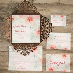 rustic brown floral watercolor lasercut wedding invites