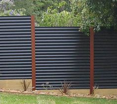 Image result for Corrugated Metal Fence Ideas