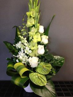 white and green floral arrangements - Google Search