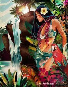 """""""Blue Sunset"""" by Kat Reeder ~ Hawaiian Art Hawaiian Art, Hawaiian Tattoo, Hawaiian Legends, Vintage Posters, Vintage Art, Polynesian Art, Blue Sunset, Tiki Art, Atelier D Art"""