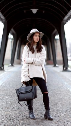 Blogger Style | Theteetharejade: creamy oversized knit x fedora hat x ripped skinny jeans x boots x céline bag #falloutfit #fallstyle