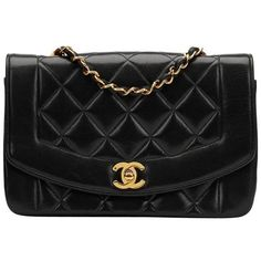 Preowned 1990s Chanel Black Quilted Lambskin Vintage Small Diana... (41.216.000 IDR) ❤ liked on Polyvore featuring bags, handbags, black, structured shoulder bags, shoulder hand bags, shoulder bag purse, structured handbags, preowned handbags and chanel handbags