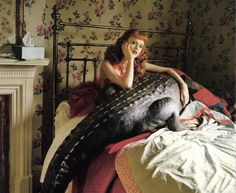 Karen Elson and the enormous crocodile, Brentford, 2009 by Tim Walker. Karen Elson, Tilda Swinton, Editorial Photography, Fashion Photography, Photography Exhibition, Makeup Photography, Tim Walker Photography, Tales Of The Unexpected, Nanu Nana