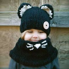 Scarf   Hat sets For kids clothing Kitty Shawl hat Girls Autumn And Winter  Wool knit 8e7fd80dfb2