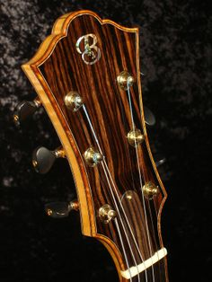 Archtop guitar Headstock of Macassar ebony with Curly Koa Binding and Paua shell logo inlay. Best Acoustic Guitar, Jazz Guitar, Guitar Art, Cool Guitar, Acoustic Guitars, Banjo, Bass Ukulele, Guitar Inlay, Mandoline