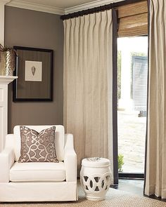 Solid Estate Custom Linen Drapery/Parisian Pleated Estate Linen in Oatmeal Curtains with Dusty Edge-Band