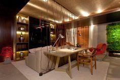 30 Salas com home offices integrados – veja modelos inspiradores e dicas! Projeto Larissa Grimaldi e Viviane Mesquita