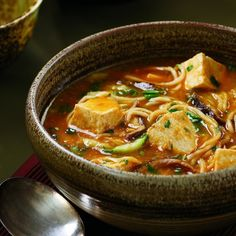 Spicy Tofu Hotpot - this recipe sounds great. I'd gladly substitute the tofu for for those not fond of it; I'd throw in some plain roasted or braised chicken. Vegan Soups, Vegetarian Recipes, Cooking Recipes, Healthy Recipes, Healthy Soup, Skillet Recipes, Pizza Recipes, Firm Tofu Recipes, Gourmet