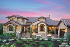 Mediterranean Home Exteriors | Custom Home Mediterranean Exterior Fantastic Design Ideas In Austin ... like the roof tile color