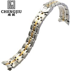 22.98$  Buy now - http://alikbu.shopchina.info/go.php?t=32783284555 - Mens' Curved Interface Steel Watch Strap For Tudor Silver Gold Watches Band Deployment Buckle Bracelet Belt Montre Maculino 21mm  #magazineonline
