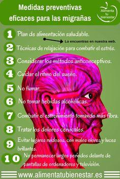 Todo sobre las migrañas y los dolores de cabeza: fases, tipos, factores de riesgo, alimentos que las desencadenan, medidas preventivas, dieta recomendada.