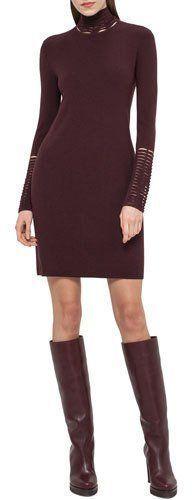 Akris Cutout Long-Sleeve Tunic Dress, Mangosteen. $2,990$747