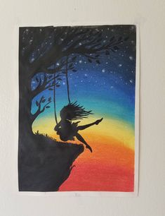 Girl on a swing soft pastel drawing chalk pastel art, soft pastel art, pastel Soft Pastel Art, Chalk Pastel Art, Chalk Pastels, Soft Pastels, Pastel Colors, Vibrant Colors, Realistic Drawings, Colorful Drawings, Easy Drawings