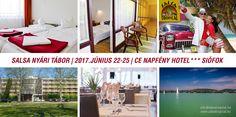 Salsa Summer Camp 2017 Balaton 2017. Június 22-25.   4 nap, 3 éjszaka az Aranyparton CE Napfény Hotel*** Siófok Táborunk nyitott mindenki számára, nem baj, ha más tánciskolában tanulsz vagy tanultál, minden kubai salsa rajongót várunk szeretettel! Az oktatás magyar nyelven történik, ahol első kézből tudhatsz meg mindent a salsáról, egyéb népszerű kubai/karibi táncokról, és minden egyéb érdekességről, amit csak itt hallhatsz! http://salsatropical.hu/05_salsa_tabor.html