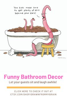 Make your bathroom feel a lot more inviting with a funny art print! This collection offers a wide variety of subjects, such as funny animal art, bizarre humor, weird art, and more! Your bathroom interior will never be the same. Check it out! #etsy #bathroomart #funnyanimalart #bathroomideas