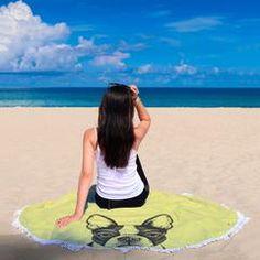 Serviette de plage Drap de bain Cheval noir tête strandtuch beach towel coton