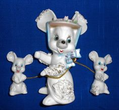 Vintage 1950's Rare Spaghetti Porcelain Mouse Mice Figurine Set Made in Japan