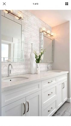 Double Bathroom Vanity Designs Ideas - If area licenses, two sink locations offer wonderful convenience in common washrooms. Discover ideas for bathroom vanities with double the area, . Bathroom Vanity Designs, Modern Bathroom Design, Bathroom Vanities, Bathroom Ideas, Bathroom Cabinets, Bathroom Organization, Bathroom Storage, Gold Bathroom, Contemporary Bathrooms