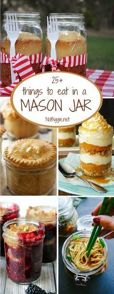 There are so many things to eat in a mason jar. Why not try one of these mason jar eats the next time you need a fun way to serve a classic. Mason Jar Lunch, Mason Jar Desserts, Mason Jar Meals, Meals In A Jar, Mason Jar Diy, Mason Jar Food, Mason Jar Recipes, Canning Jars, Mason Jar Breakfast