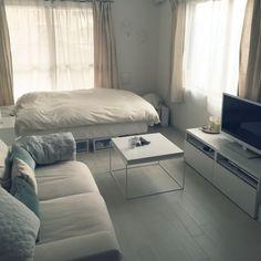 Keyさんの、部屋全体,無印良品,一人暮らし,1K,賃貸,ホワイト,LEDキャンドル,HAY,DIY床,ルミナラ,シンプルホワイト,シンプルインテリア,1K ひとり暮らし,ベッド下をなんとかしたい,のお部屋写真