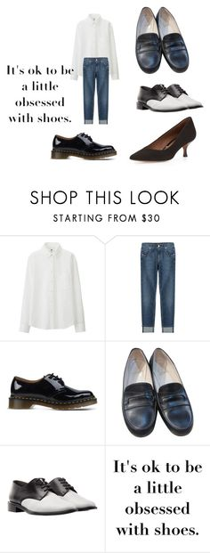 """A look found in Good Housekeeping I liked (January 2016)"" by shycoygirl65 on Polyvore featuring Uniqlo, 7 For All Mankind, Dr. Martens, Christian Louboutin, Robert Clergerie and Donald J Pliner"