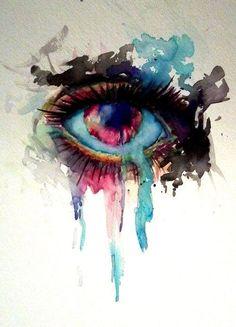 Watercolor Eyes, Watercolor Paintings, Watercolor Tattoos, Dali Paintings, Abstract Watercolor, Lapin Art, What's My Favorite Color, Chiaroscuro, Eye Art