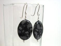 Black and Grey Jasper Earrings Solid 930 Sterling by jpatterson312, $30.00