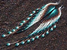 Maui cisne diseños hermoso cobre resplandor semilla del grano (tamaño #11), 6,5 pendientes largos. Diseño original, incorpora cobre cuentas,