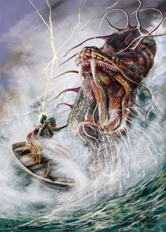 In Norse mythology, Jörmungandr is a sea serpent, the middle child of the giantess Angrboða and the god Loki.Odin took Loki's three children by Angrboða, the wolf Fenrir, Hel and Jörmungandr, and tossed Jörmungandr into the great ocean that encircles Midgard.The serpent grew so large that he was able to surround the earth and grasp his own tail. As a result, he received the name of the Midgard Serpent. When he lets go, the world will end. Jörmungandr's arch-enemy is the god Thor.