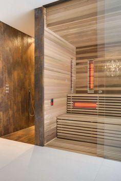 Bilderesultat for moderne infrarood sauna Diy Bathroom Remodel, Bathroom Spa, Bathroom Wall Decor, Bathroom Layout, Modern Bathroom Design, Bathroom Interior Design, Bathroom Remodeling, Home Spa Room, Spa Rooms