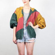 Vintage 80s Bomber Jacket 1980s Silk Windbreaker Jacket Green Red Mustard Gold Color Block Wind Breaker Track Jacket Hipster M L Large XL