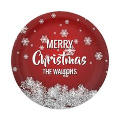Personalized RED White MERRY CHRISTMAS Snowflakes Paper Plate - holidays diy custom design cyo holiday family