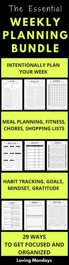 This essential weekly planning bundle provides everything you need to stay organized, focused and on track every week. Includes priority planning, goal setting, weekly to-do checklists, schedule at-a-glance, weekly plan, habit tracker, meal planning, shopping list, chores checklist, workout plans, gratitude, progress tracker, mind maps, mindset and weekly review & reflection. It's all there in one neat package. #weeklyplanning #weeklyplan #printables #todolist #todochecklist #habittracker