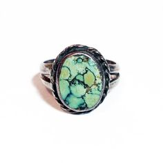 Vintage Green Turquoise Ring in Sterling Silver // Green Turquoise with Black Matrix, Vintage Native American Jewelry, Sizes 4-9 $41.00 by RubyandJuniper