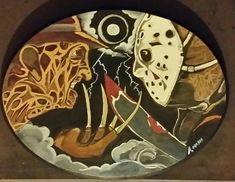 Freddy vs Jason - Rotten Apple Arts  (Albert Mish ) - Paintings & Prints Entertainment Movies Animation & Anime - ArtPal Apple Art, Animation, Entertainment, Paintings, Prints, Anime, Movies, Films, Painting