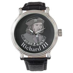 Richard III King of England Watch - tap, personalize, buy right now! #richardiii #englishmonarchy #englishhistory #historybuff #historygift #historystudent Vintage Leather, Vintage Men, Richard Iii Society, King Richard, England, Watch, Clothing, Outfits, Clock
