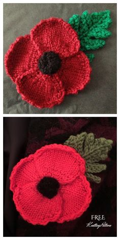 Free Knitted Flower Patterns, Knitted Poppy Free Pattern, Leaf Knitting Pattern, Knitting Patterns Free Dog, Baby Cardigan Knitting Pattern Free, Knitting Yarn, Free Knitting, Free Christmas Knitting Patterns, Knit Patterns