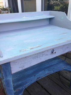old desk done in the gorgeous Annie Sloan Chalk Paint® Duck Egg Blue, Greek Blue, Old White and Aubusson on bottom (dark wax & distressed). Fun piece!