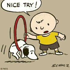 Classic Peanuts. Nice try! Snoopy hung up in hoop Charlie Brown is holding for him to jump through.