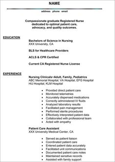 Professional Nursing Resume Experienced Nursing Resume …  Pinteres…