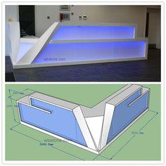 Led Lighting Reception L Shape Counter Custom Design Reception Counter Design, Office Reception Design, Modern Reception Desk, Clinic Interior Design, Clinic Design, Kiosk Design, Store Design, Casa Top, Architecture 3d