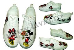 Tenisi pictati manual, in culori textile - Minnie and Mickey Mouse www.laviq.ro Cleats, Manual, Mickey Mouse, Textiles, Sports, Fashion, Cleats Shoes, Hs Sports, Moda