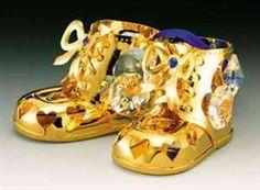 Gold and Crystal Boy Booties Ornament #hiddentreasuresdecorandmore