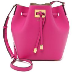 Michael Kors Collection Miranda Medium Bucket Bag ($710) ❤ liked on Polyvore featuring bags, handbags, shoulder bags, bolsas, borse, purses, geranium, pink leather purse, bucket bag and leather handbags