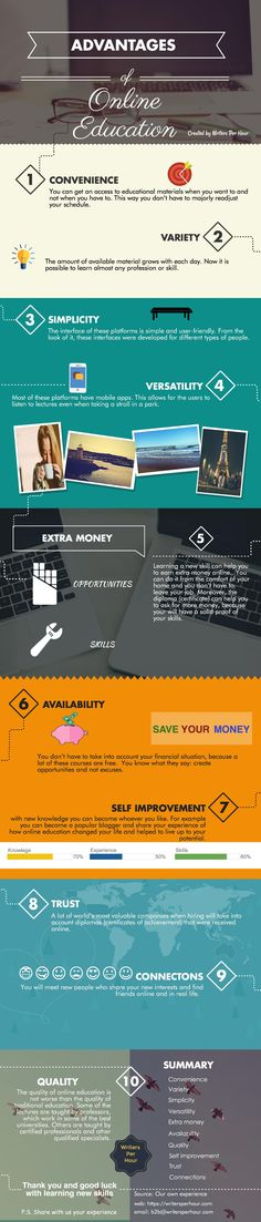 Top 10 Advantages of Online Education Infographic - http://elearninginfographics.com/top-10-advantages-online-education-infographic/