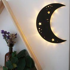 Moon Decor, Wall Decor, Wall Art, Wall Lamps, Moon Crafts, Crystal Shelves, Oak Color, Wooden Walls, Wooden Wall Bedroom