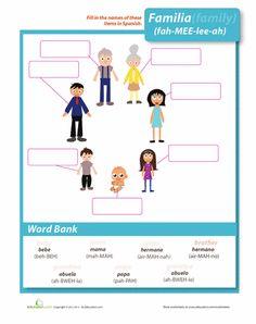 Worksheets: Family in Spanish
