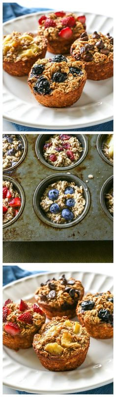 Healthy Oatmeal Cups that can be personalized for every member of your family! - Such delicious, healthy, and easy breakfast recipes to make! Breakfast Recipes, Snack Recipes, Cooking Recipes, Healthy Treats, Healthy Desserts, Healthy Breakfasts, Healthy Recipes, Desserts Sains, Snacks Saludables