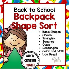 Back to School Shape Sort Math center for PreK, K, & Homeschool