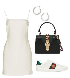 A fashion look from January 2018 featuring Bec & Bridge dresses, Gucci sneakers and Gucci shoulder bags. Browse and shop related looks. Cute Casual Outfits, Comfortable Outfits, Pretty Outfits, Stylish Outfits, Look Fashion, Korean Fashion, Fashion Outfits, Polyvore Outfits, Everyday Outfits